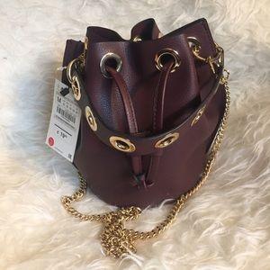 Zara Burgundy Bucket Bag Crossbody Gold